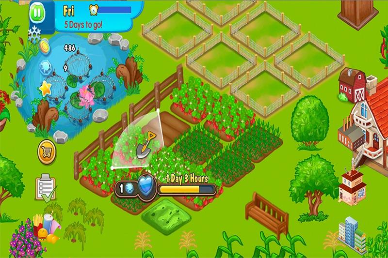 设计和适中的农场的树木 围墙 建筑和玩具 与美丽的动物  建造你梦想