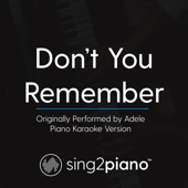 Don't You Remember (Originally Performed by Adele) [Piano Karaoke Version]