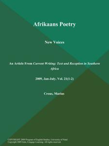 Afrikaans Poetry: New Voices La couverture du livre martien