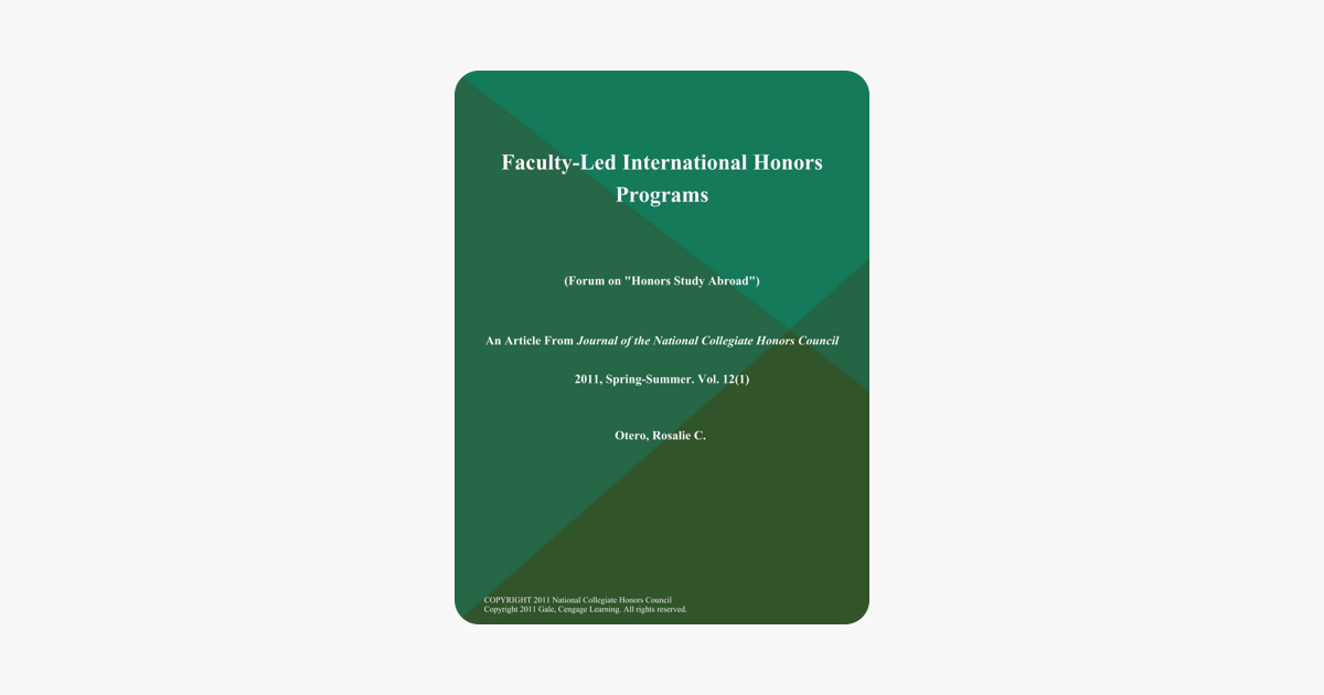 ‎Faculty-Led International Honors Programs (Forum on