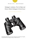 Heideggers Aesthetics The Art Object And History Martin Heidegger Critical Essay
