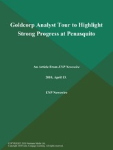 Goldcorp Analyst Tour To Highlight Strong Progress At Penasquito