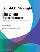 Donald E. Mcknight v. Hill & Hill Exterminators