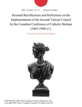 Personal Recollections And Reflections On The Implementation Of The Second Vatican Council By The Canadian Conference Of Catholic Bishops (1964-1990) (1).