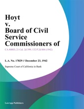 Hoyt V. Board Of Civil Service Commissioners Of