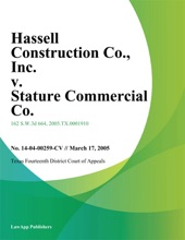 Hassell Construction Co., Inc. v. Stature Commercial Co., Inc.