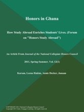 Honors In Ghana: How Study Abroad Enriches Students' Lives (Forum On