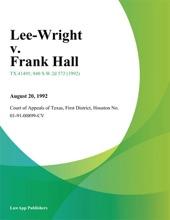 Lee-Wright V. Frank Hall