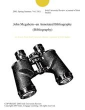 John Mcgahern--an Annotated Bibliography (Bibliography)