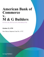 American Bank of Commerce v. M & G Builders