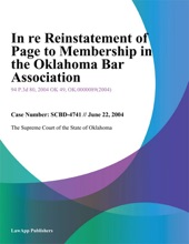 In re Reinstatement of Page to Membership in the Oklahoma Bar Association