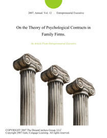 On the Theory of Psychological Contracts in Family Firms.