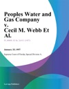 Peoples Water And Gas Company V Cecil M Webb Et Al