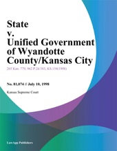 State V. Unified Government Of Wyandotte County/Kansas City