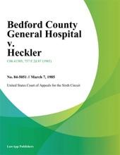 Bedford County General Hospital V. Heckler