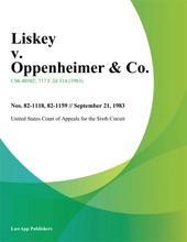 Liskey V. Oppenheimer & Co.