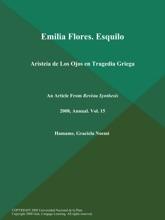 Emilia Flores. Esquilo: Aristeia De Los Ojos En Tragedia Griega