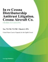 In Re Cessna Distributorship Antitrust Litigation Cessna Aircraft Co
