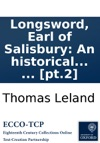 Longsword Earl Of Salisbury An Historical Romance In Two Volumes  Pt2