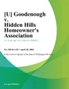 U Goodenough V Hidden Hills Homeowners Association