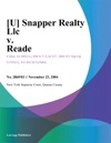 U Snapper Realty Llc V Reade
