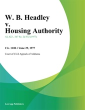 W. B. Headley V. Housing Authority