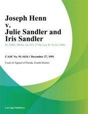 Download and Read Online Joseph Henn v. Julie Sandler and Iris Sandler