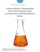 E-Business Education: A Phenomenographic Study Of Online Engagement Among Accounting, Finance And International Business Students.
