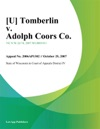 Tomberlin V Adolph Coors Co