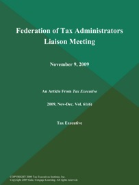 Federation Of Tax Administrators Liaison Meeting November 9 2009