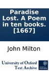 Paradise Lost A Poem In Ten Books 1667