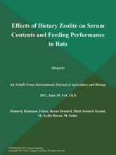 Effects Of Dietary Zeolite On Serum Contents And Feeding Performance In Rats (Report)