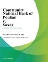 Community National Bank Of Pontiac V Saxon