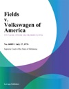 Fields V Volkswagen Of America