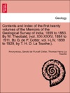 Contents And Index Of The First Twenty Volumes Of The Memoirs Of The Geological Survey Of India 1859 To 1883 By W Theobald Vol XXI-XXXV 1884 To 1911 By G De P Cotter Vol I-LIV 1859 To 1929 By T H D La Touche
