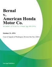 Bernal v. American Honda Motor Co.