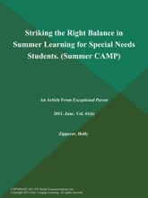 Striking The Right Balance In Summer Learning For Special Needs Students (Summer: CAMP)