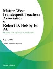 Matter West Irondequoit Teachers Association v. Robert D. Helsby Et Al.