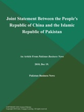 Joint Statement Between the People's Republic of China and the Islamic Republic of Pakistan