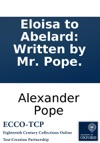 Eloisa To Abelard Written By Mr Pope