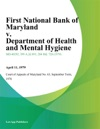 First National Bank Of Maryland V Department Of Health And Mental Hygiene