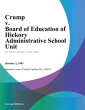 Crump V. Board Of Education Of Hickory Administrative School Unit
