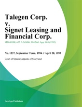 Talegen Corp. v. Signet Leasing and Financial Corp.
