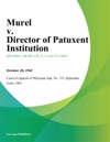 Murel V Director Of Patuxent Institution