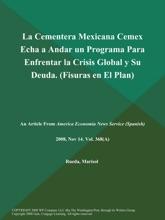 La Cementera Mexicana Cemex Echa A Andar Un Programa Para Enfrentar La Crisis Global Y Su Deuda (Fisuras En El Plan)