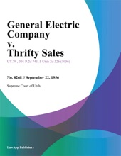 General Electric Company V. Thrifty Sales