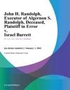 John H Randolph Executor Of Algernon S Randolph Deceased Plaintiff In Error V Israel Barrett