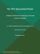 The 2011 Queensland Floods: A Dialysis Clinical Nurse Manager's Personal Account (Column)