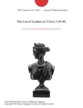 The List Of Leaders In 5 Ezra 1:39-40.