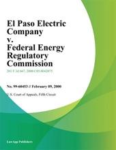 El Paso Electric Company V. Federal Energy Regulatory Commission